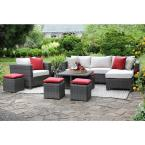 Carson 9-Piece All-Weather Wicker Patio Deep Seating Set with Sunbrella Beige Cushions