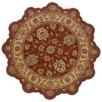 Traditional Shape Rust and Gold 7 ft. 9 in. Star Plush Indoor Area Rug