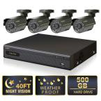 Lite Series 4 CH 500 GB Hard Drive Surveillance System with (4) 400 TVL Cameras-DISCONTINUED