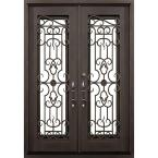 72 in. x 82 in. Tampa Dark Bronze Right-Hand Outswing Painted Iron Prehung Front Door with Clear Glass and Hardware