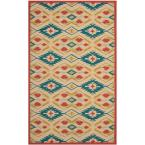 Four Seasons Natural/Blue 5 ft. x 8 ft. Indoor/Outdoor Area Rug