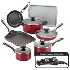 High Performance Nonstick 17-Piece Cookware Set in Red