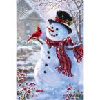 1 ft. x 1-1/2 ft. Snowman and Feathered Friend 2-Sided Garden Flag