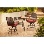 Fall River 3-Piece Patio High Bistro Set with Dragon Fruit Cushions