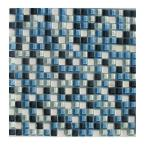 12 in. x 12 in. x 1/4 in. Thick Mosaic Mixed Blue Glass Tile