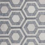 Kosmos Beige and Lagos Azul Hexagon Marble Mosaic Tile - 3 in. x 6 in. Tile Sample