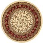 Lyndhurst Ivory/Red 8 ft. x 8 ft. Round Area Rug