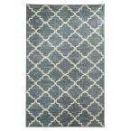 Fancy Trellis Gray Printed 5 ft. x 8 ft. Area Rug