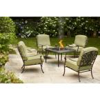 Edington 5-Piece Patio Fire Pit Chat Set with Celery Cushions