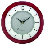 11 in. Round Cherry Wood Frame, White Screening, Silver Dial Wall Clock