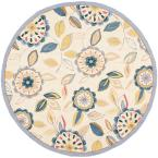 Chelsea Ivory/Blue 4 ft. x 4 ft. Round Area Rug
