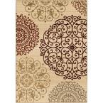 Scrolled Eclipse Ivory 9 ft. x 13 ft. Indoor Area Rug
