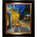 24 in. x 20 in. Cafe Terrace at Night Hand-Painted Framed Oil Painting