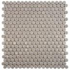 Comet Penny Round Ash 11-3/4 in. x 11-3/4 in. x 10 mm Porcelain Mosaic Floor and Wall Tile