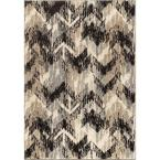 Twisted Sisters Gray 5 ft. 3 in. x 7 ft. 6 in. Plush Pile Chevron Indoor Area Rug