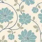 56 sq. ft. Blue and Cream Large Scale Retro Floral Trail Wallpaper