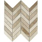 Dart Crema Marfil and Travertine Marble Mosaic Tile - 3 in. x 6 in. Tile Sample
