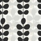 56 sq. ft. Black, White and Grey Modern Large Scale Leaf Stripe Wallpaper