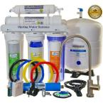 LittleWell WQA Gold Seal 5-Stage 75-GPD Reverse Osmosis Water Filter with Brushed Nickel Faucet and See-Through Housing