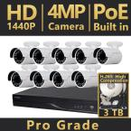 16-Channel HD 4MP IP Indoor/Outdoor Surveillance 3TB NVR 4K Output System (9) Bullet Cameras H.265 Double Recording Time