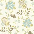 56 sq. ft. Amelie Blue Modern Floral Trail Wallpaper