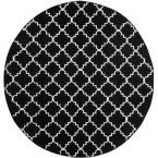 Dhurries Black / Ivory 6 ft. x 6 ft. Round Area Rug