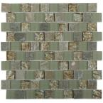 Inheritance Thunder Clouds Marble and Glass Mosaic Wall Tile - 3 in. x 6 in. Tile Sample