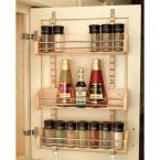 25 in. H x 16 in. W x 4 in. D 3-Shelf Large Cabinet Door Mount Wood Adjustable Spice Rack