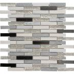 Ocean Crest Brick 12 in. x 12 in. x 8 mm Glass Metal Stone Mesh-Mounted Mosaic Tile