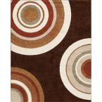 Circlets Chocolate 7 ft. 10 in. x 9 ft. 10 in. Shag Area Rug