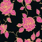 8 in. x 10 in. Vintage Rose Black/Gold/Fuscia Wallpaper Sample