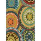 Pinwheel Green 5 ft. 2 in. x 7 ft. 6 in. Indoor Area Rug
