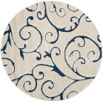 Florida Shag Cream/Blue 6 ft. 7 in. x 6 ft. 7 in. Round Area Rug