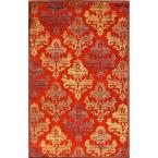 Machine Made Red 2 ft. x 3 ft. Floral Area Rug