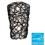 Wall Mount Black Wicker Battery Operated 7 LED Sconce with White Shade