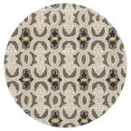 Patio Pathways Grey 7 ft. 6 in. x 7 ft. 6 in. Round Area Rug