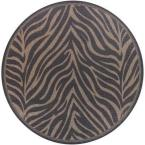 Recife Zebra Black Cocoa 8 ft. 6 In. x 8 ft. 6 In. Round Area Rug