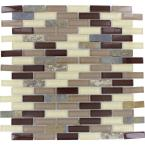 Rolling Hills Brick 12 in. x 12 in. x 6 mm Glass Stone Mesh-Mounted Mosaic Tile