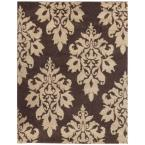 Meadow Damask Dark Brown 7 ft. 10 in. x 10 ft. Area Rug