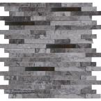 Eclipse Interlocking 12 in. x 12 in. x 8 mm Metal Stone Mesh-Mounted Wall Tile (10 sq. ft. / case)
