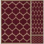 Paterson Collection Contemporary Moroccan Trellis Design Dark Red 5 ft. x 7 ft. 3-Piece Rug Set