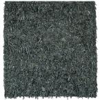 Leather Shag Grey 8 ft. x 8 ft. Square Area Rug