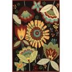Folk Flowers Black 8 Ft. x 10 Ft, 6 In. Area Rug