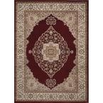 Bazaar Emy Red / Ivory 7 ft. 10 in. x 10 ft. 1 in. Area Rug