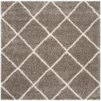 Hudson Shag Grey/Ivory 7 ft. x 7 ft. Square Area Rug