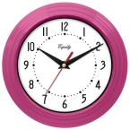 8 in. x 8 in. Round Pink Plastic Wall Clock