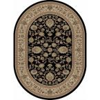 Sensation Black 5 ft. 3 in. x 7 ft. 3 in. Traditional Oval Area Rug