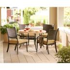 Madison 5-Piece Patio Dining Set with Textured Golden Wheat Cushions