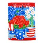 1 ft. x 1-1/2 ft. Patriotic Floral Welcome 2-Sided Garden Flag