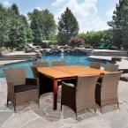Ward 9-Piece Eucalyptus Square Patio Dining Set with Grey Cushions